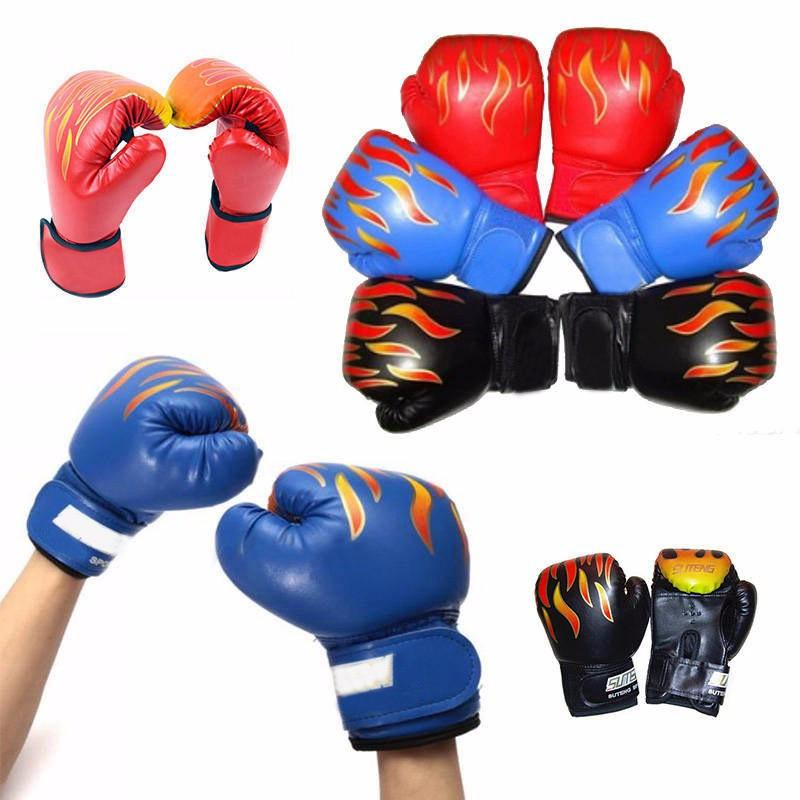 Professional 1 Pair Child Boys Flame Boxing Gloves Punch for Kids Beginner Sanda Sparring Training Mitts Protector Gloves