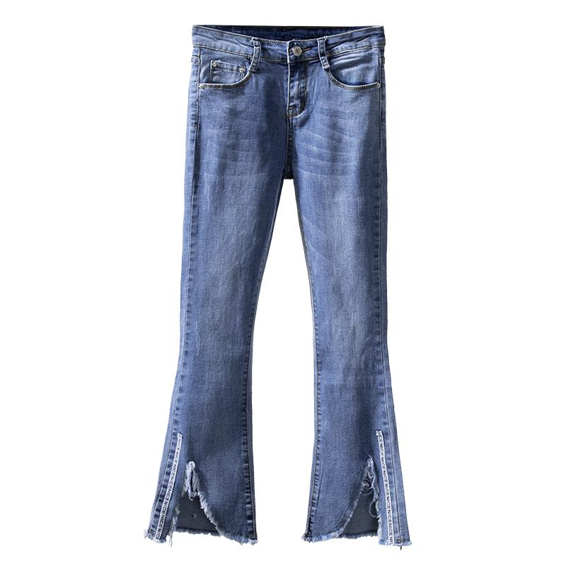 c1d6616ceb4 2019 Plus Size Denim Flare Pants Autumn Women Skinny Stretch Large Light  Blue Jeans Ripped Ankle Length Vintage Trousers From Insideseam