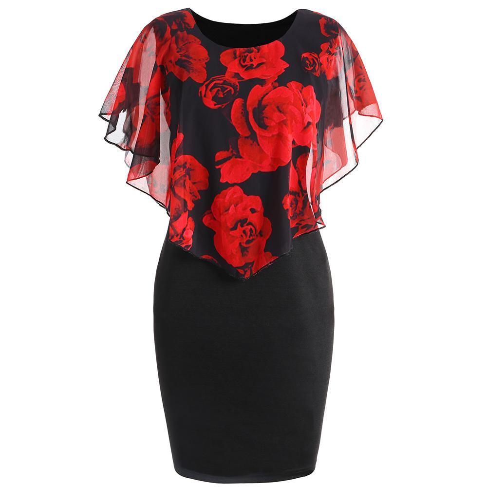 1ad7c8c9392 2019 ZAFUL Women Party Bodycon Dresses Plus Size Rose Valentine Overlay  Capelet Dress Summer O Neck Short Sleeve Dress Vestidos Robe From Meicloth