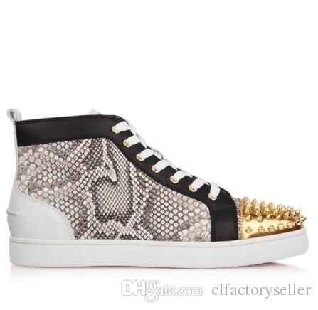 7de664fb00b1 Brand Designers Men s Yellow Python And Leather Sneakers Red Bottom ...