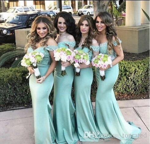 2019 Elegant Country Mint Green Mermaid Bridesmaid Dresses Off the Shoulder Lace Backless Wedding Guest Gown Long Cheap Maid of Honor Dress