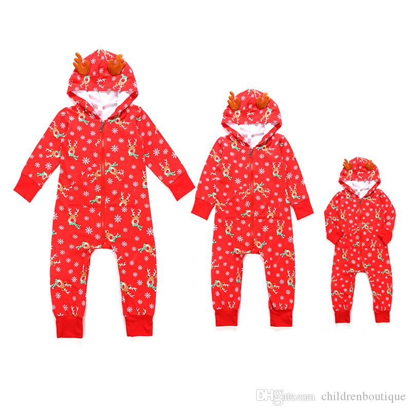 Christmas Jumpsuit Baby.Infant Baby Christmas Jumpsuit Family Matching Clothes Christmas Deer Snowflake Printing Hooded Pajamas Newborn Autumn Winter Warm Outfits