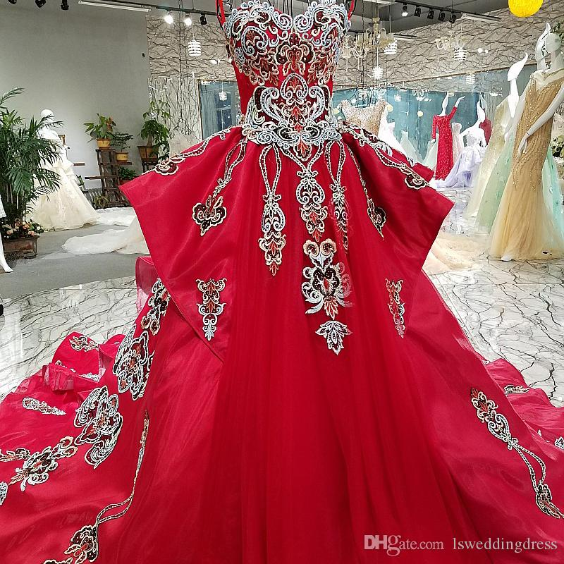 2019 Newest Luxury Vintage Evening Dress Flowers Lace Pretty Sexy Ball Gown Red Strapless Satin Detail Applique Ruffle Party Prom Dress
