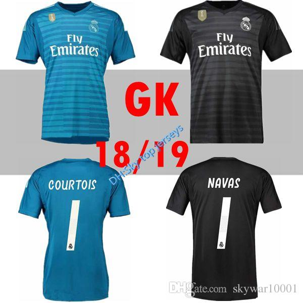 9943a65195e 2019 2018 2019 Real Madrid Goalkeeper Jerseys 18 19 Keylor Navas Jersey  Camiseta De Futbol 13 Thibaut Courtois 1 Real Madrid BALE Maillot De Foot  From ...