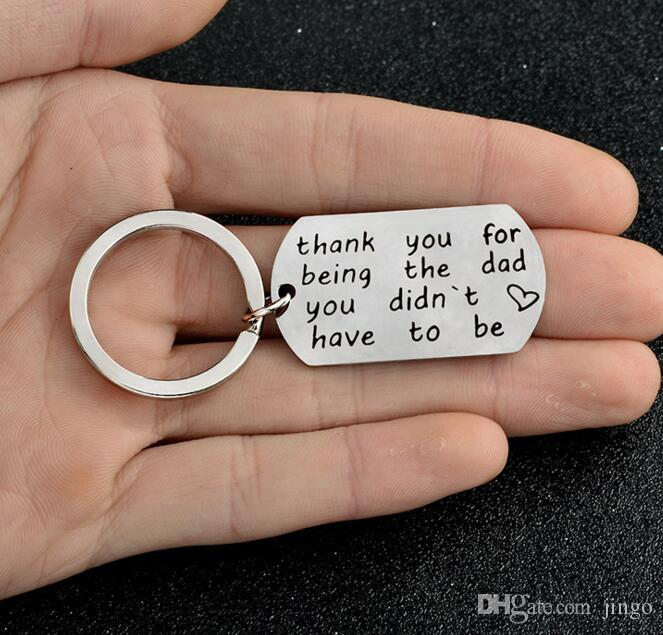DHL Thank You for Being The Dad You Didn Have To Be Stainless Steel Letter Keychain Keyrings Father's Day Gifts Thanksgiving Gifts nt