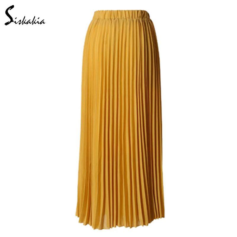 0edab0cb7 2019 Siskakia Ladies Pleated Skirt Fashion High Waist Draped Women Skirts  Ankle Length Solid Muslim Long Skirt Blue Chiffon From Blueberry15, ...