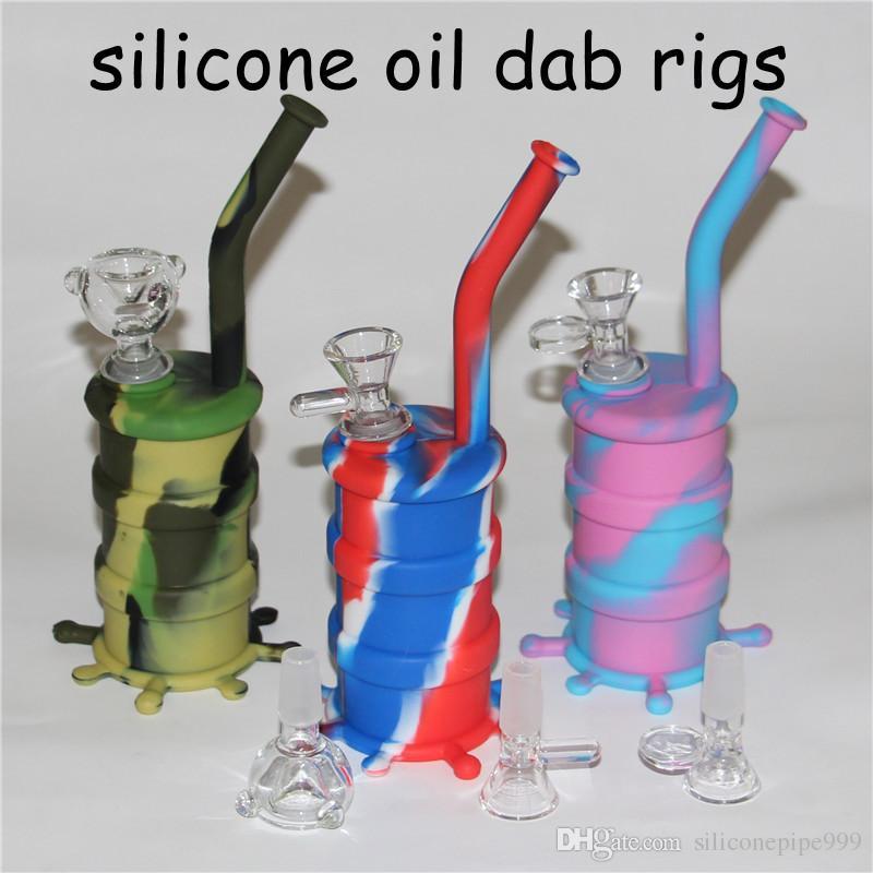 Venta al por mayor Mini Plataformas de Silicona Dab Bongs Jar Tubo de Agua de Silicio Tubos de Tambor de Silicona tubos de agua de silicona bubbler bong blunt bubblers free DHL