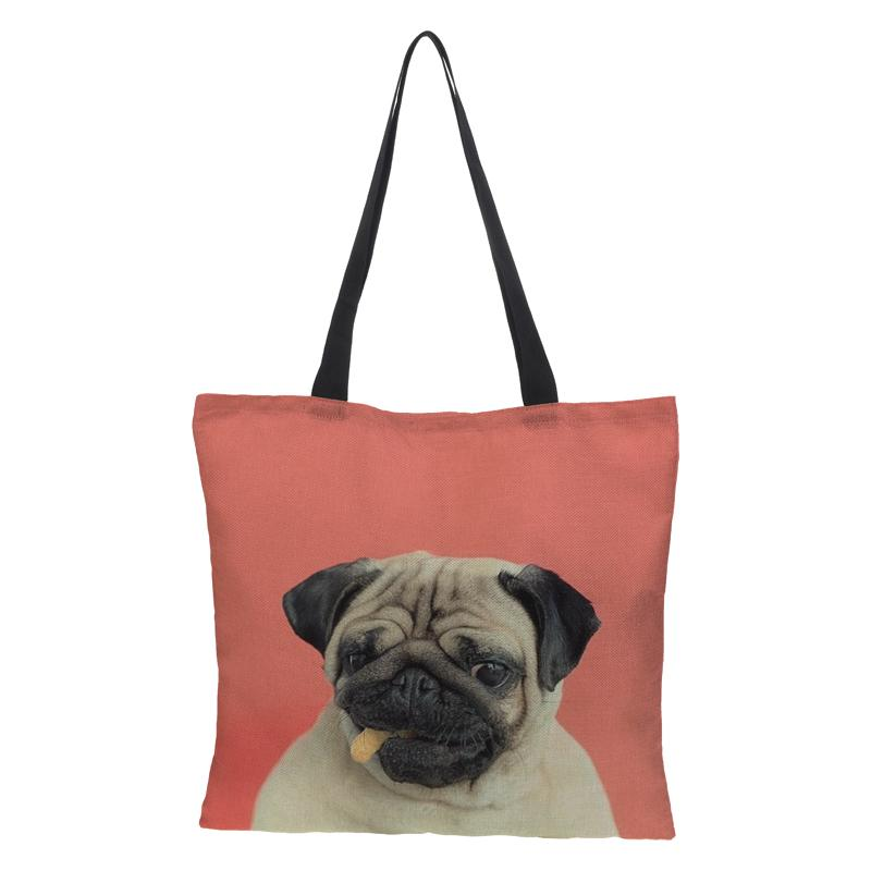 Lady's Foldable Handbag Shoulder Bags Beach Bag Dog Prints Women's Shopping Bag linen Soft Fashion Zipper Hand Totes for Summer