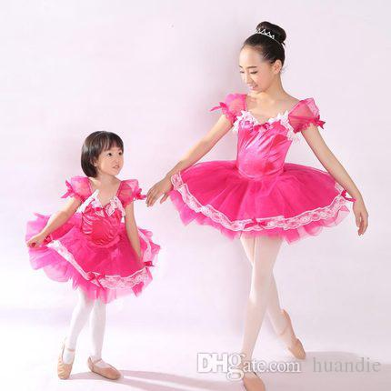 Mother and Daughter Red Ballerina dress ballet dance tutu dress with short puff sleeve for girl women