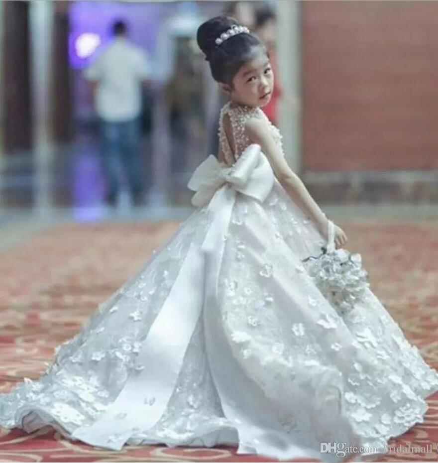 Prenses 2020 Boncuk İnciler Yay Ile Bebek Pembe Kız Elbiseler Kemer Küçük Çocuklar Nedime Elbisesi Çocuk Kız Pageant elbise Parti düğün
