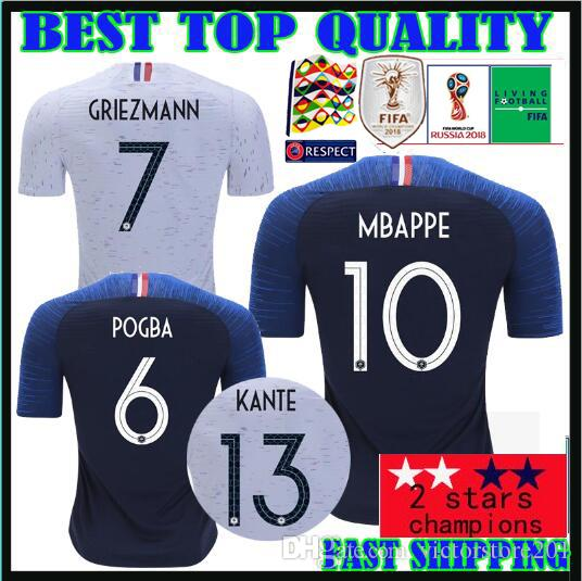 61b753abb World Cup 2018 Champions French 2 Star Soccer Jerseys GRIEZMANN ...