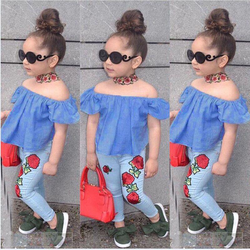 f9b50ef70ae2c 2PCS Set Cute Baby Girls 2018 New Fashion Children Girls Clothes Off  Shoulder Crop Tops Blue Flower Denim Pant Summer Children Girl Clothes