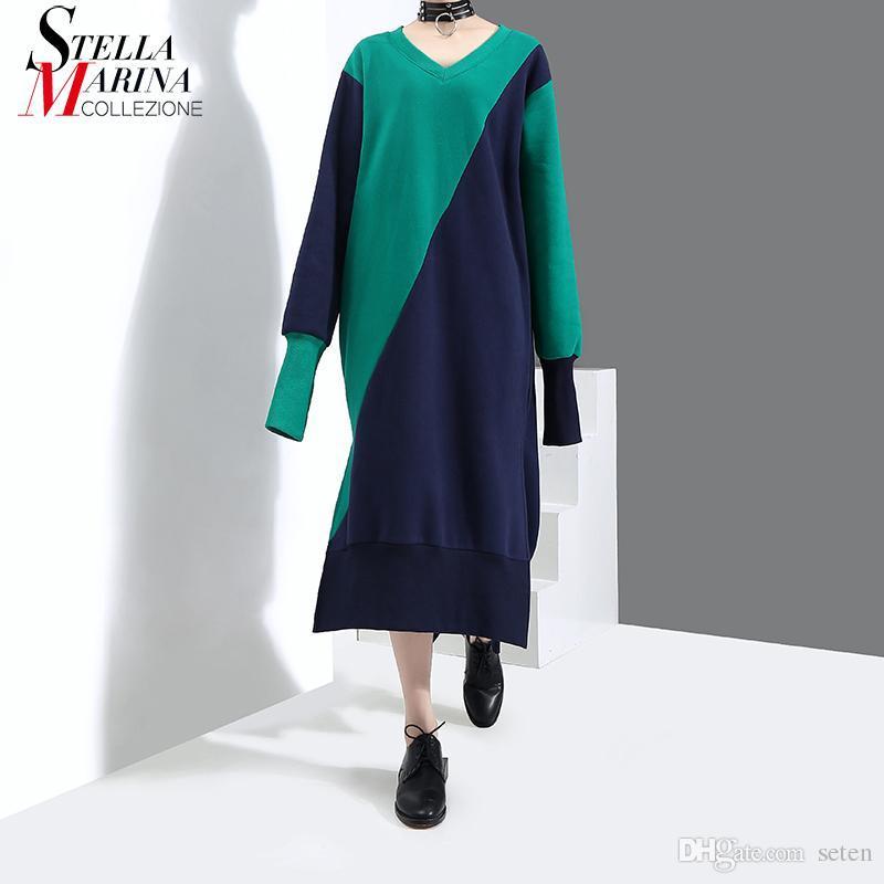 c22b00b3c Compre Novo 2018 Estilo Coreano Hit Color Patchwork Longo Verde Vestido  Manga Longa Manga Comprida Estiramento Com Decote Em V Feminino Casual  Vestidos 3268 ...