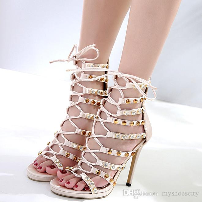 Luxury wedding shoes ivory rhinestone rivets lace up T strappy high heels women designer sandals size 35 to 40