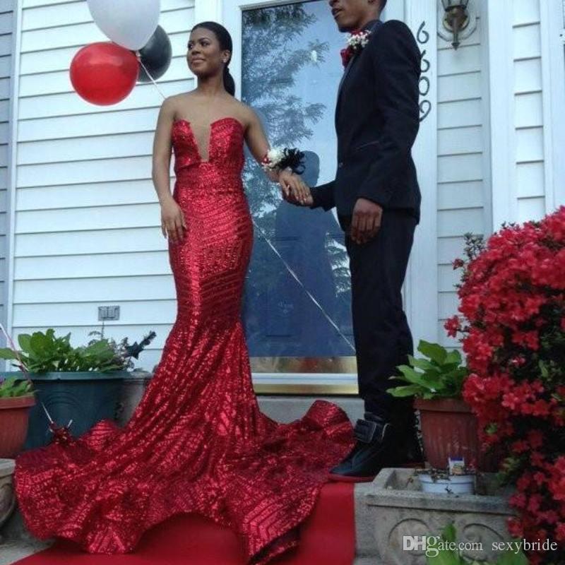 e13efe15ad7b Elegant 2018 Designer Shiny Long Mermaid Red Prom Dresses For Black Girl  Strapless Backless Sweep Train Evening Party Dresses Long Sleeve Evening  Dress My ...