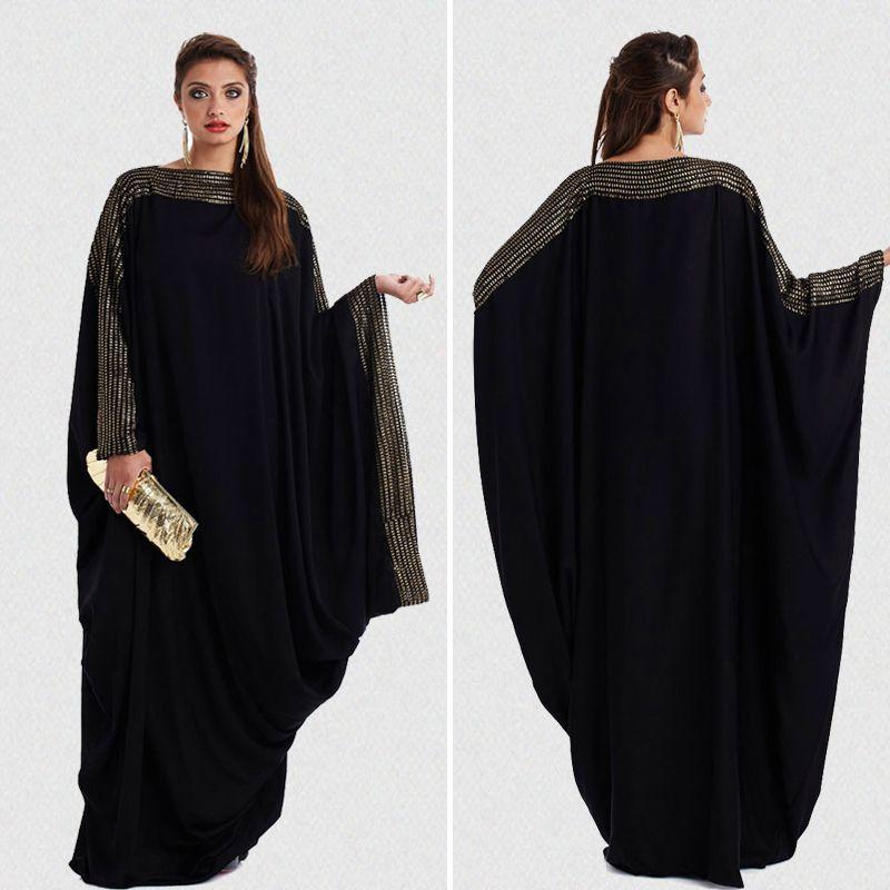 599324b8f2a 2019 Plus Size S~6XL Quality New Arab Elegant Loose Abaya Kaftan Islamic  Fashion Muslim Dress Clothing Design Women Black Dubai Abaya From  Goodly3128