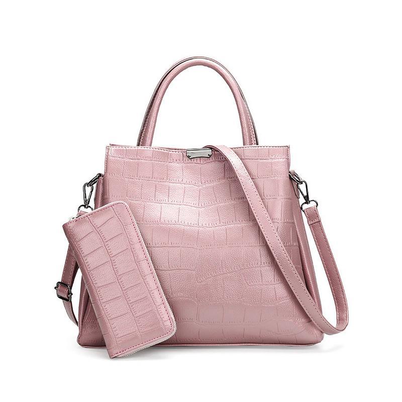 82576ec19221 Homeda Brands High Quality Handbags Crocodile Pattern PU Leather 2 Pieces  Sets Women Tote Female Messenger Bags sac a main L-114