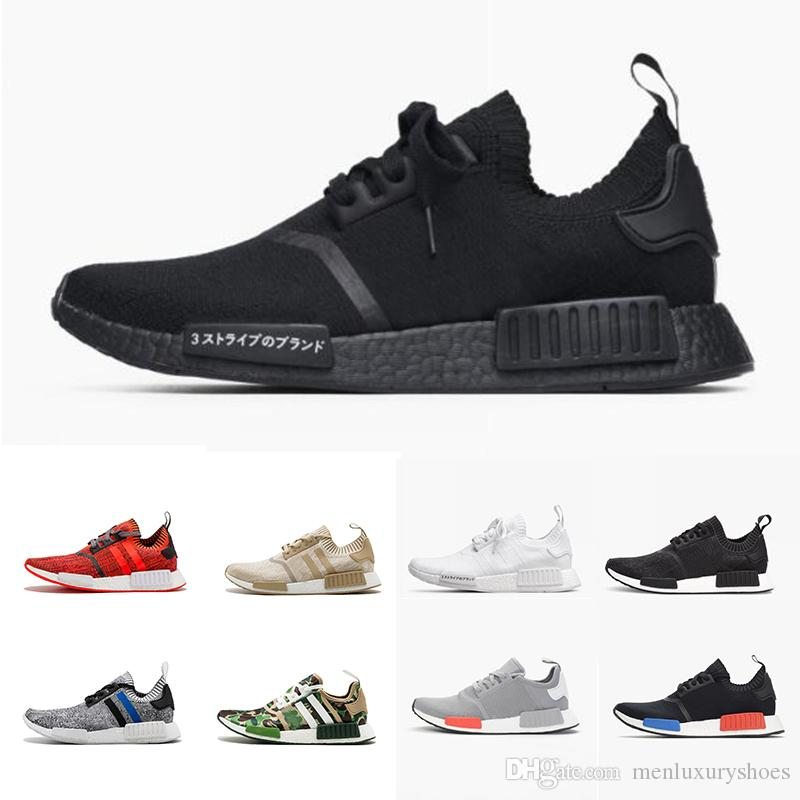 2018 Wholesale R1 Shoes Discount Cheap Japan red gray NMD Runner R1 Primeknit PK Low Men's & Women's shoes Classic Fashion Sport Shoes