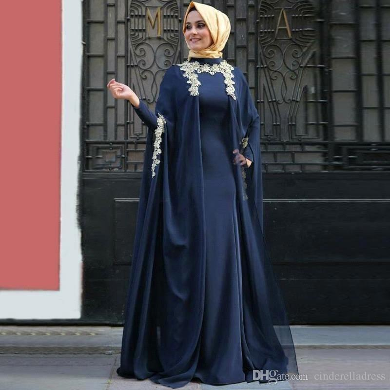 Dubai Muslimi Abaya Navy Blue Evening Dresses 2018 with Long Sleeves Hijab Prom Gowns Elegant Saudi Arabic Prom Gowns