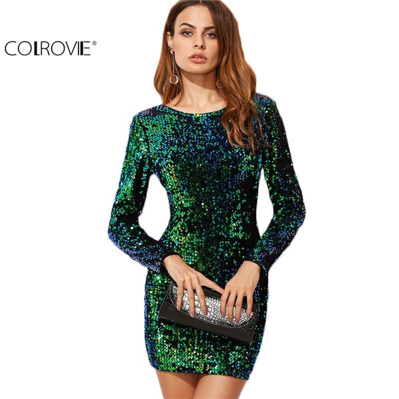 ee307082 Wholesale-COLROVIE Women Dress Elegant Sexy Club Dresses Korean Style Reen Iridescent  Long Sleeve Sequin Bodycon Dress Dress Reseller Sequin Jacket Dress Up ...