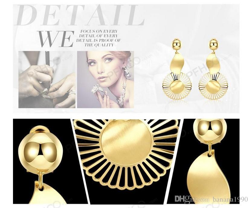 Boho Fashion Africa Women Dangle Statement Earrings Jewelry 18k Gold Filled Geometric Round Mesh Copper Free Allergy Drop Shipping