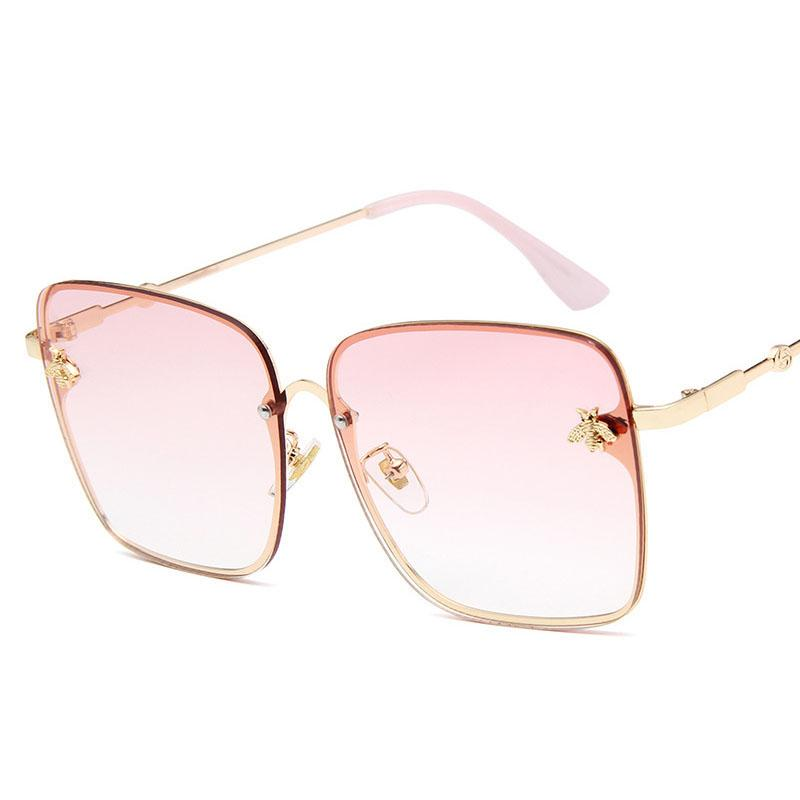 cf08b3721e5e Bee Sun Glasses Women 2018 New Luxury Brand Logo Square Pink Clear  Sunglasses Lady Fashion Rimless Shades Tinted Color Eyewear Womens  Sunglasses Sunglasses ...
