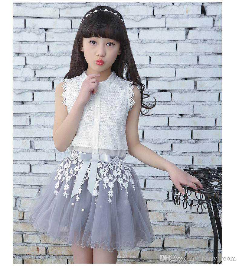 Princess Clothing Girls Sets Summer White Cardigan Tops Lace Tutu Layer Skirt Set For Big kids Clothes Set Flower Girl Outfit A8985
