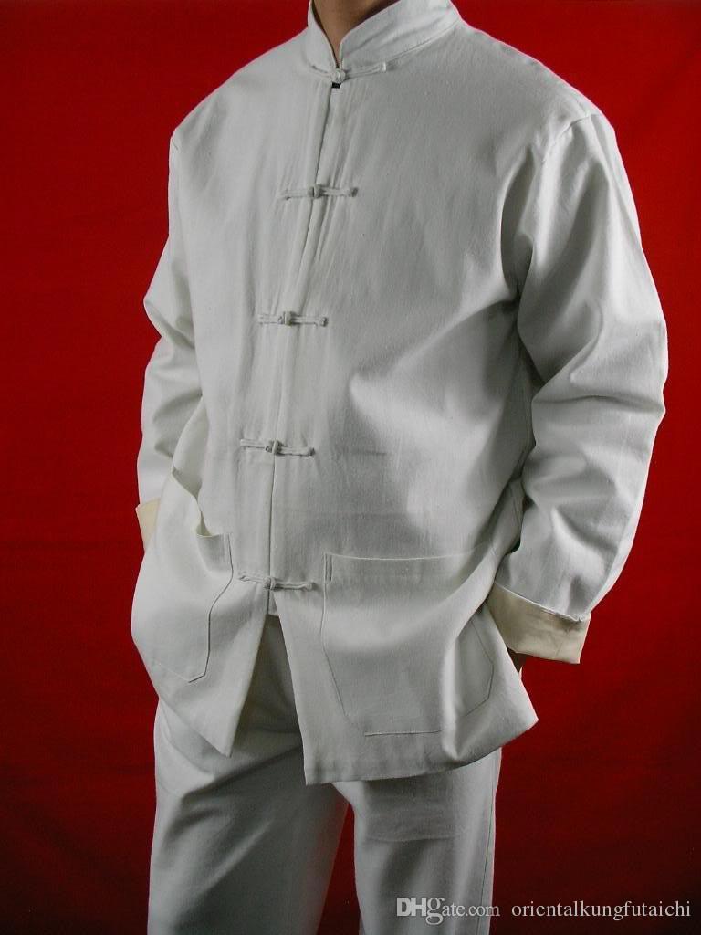 299ef67c8f5c4 Compre Belas Linho Branco Kung Fu Artes Marciais Tai Chi Uniforme Terno XS  XL Ou Alfaiate Custom Made De Orientalkungfutaichi
