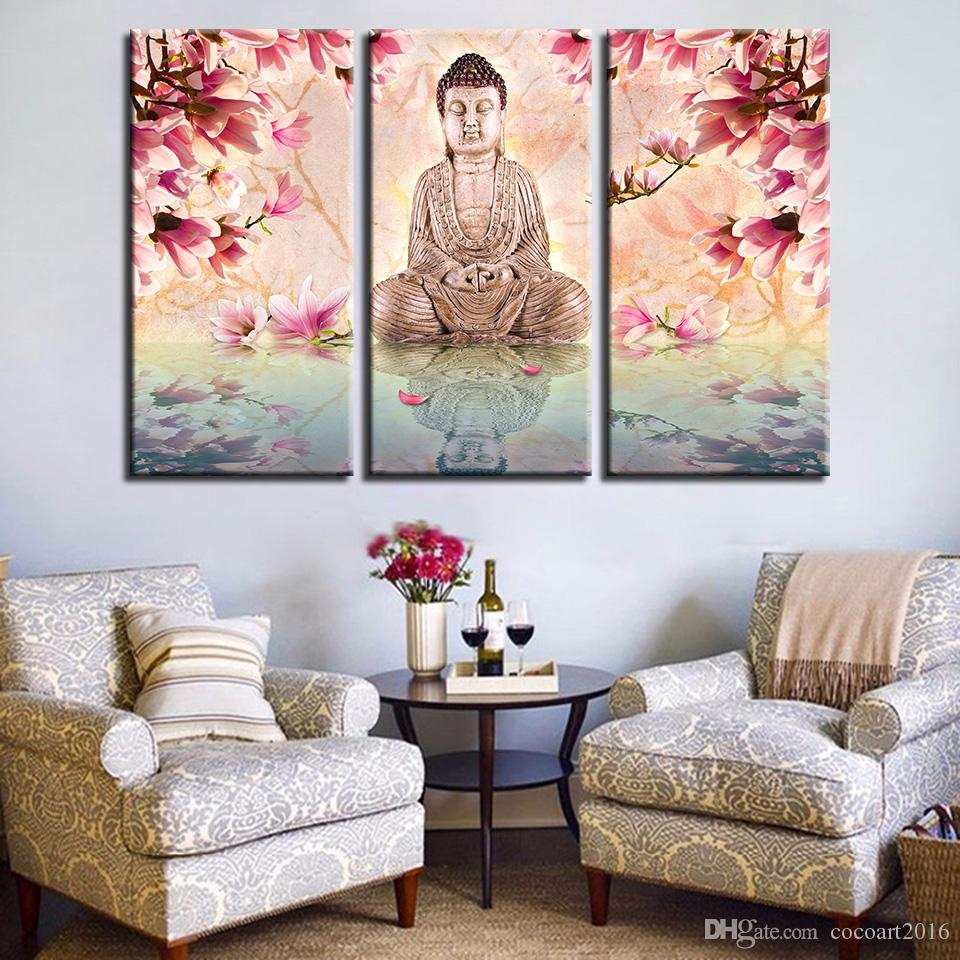 2019 canvas pictures print living room wall art frame buddha statue paintings pink magnolia flower poster modular home decor from cocoart2016