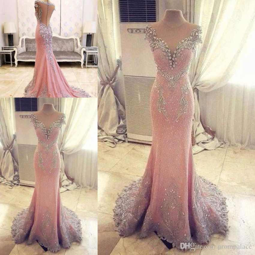 ef94b4c28f7 New Sexy Pink Mermaid Evening Dresses Jewel Neck Capped Sleeves Lace  Appliques Beaded Illusion Back With Button Formal Evening Gowns Summer Evening  Dresses ...