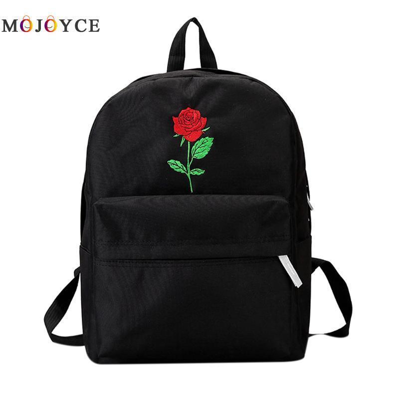 d6d85ac57 Compre Mochila Mulheres Canvas Rose Flor Bordado Estudante Adolescentes  Meninas Mochila Escolar Saco De Viagem Mochila Preta Mochila Feminina  Y18110201 De ...