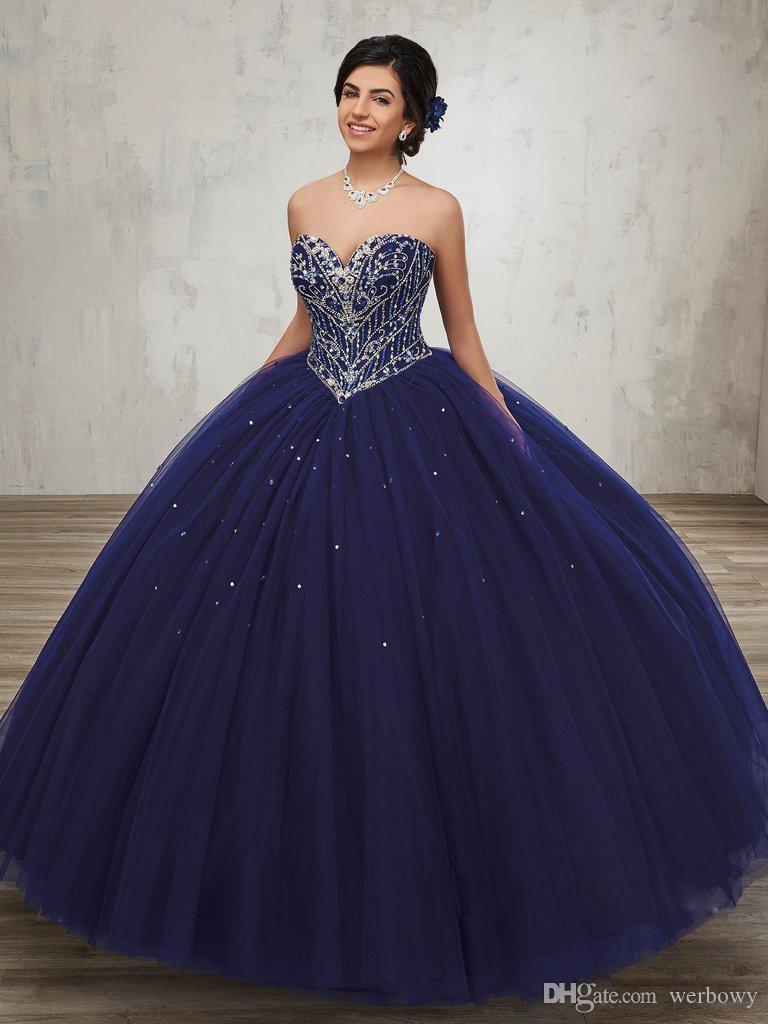 c9467fc3082 New Coming Ball Gown Sweetheart Silver Rhinestones Navy Blue Quinceanera  Dresses Debutante Gowns With Jacket Princess Long Gowns HY4066 Xv Dresses  15 Dress ...