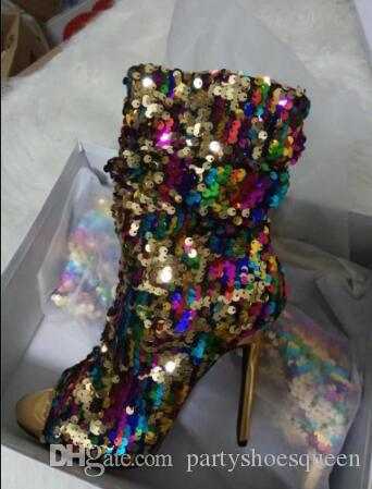 ful Bling Bling Peep Toe Mixed Color Cut-Out Fashion Short Booties Ankle High Side Zipper Women Shoes Summer Dress Sandals