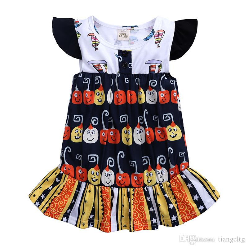 a7dea839e391 2019 Baby Girls Halloween Dresses Pumpkin Striped Patchwork Sailboat  Printed Ruffle Frills Flying Sleeveless Knee Length Designer Clothes 9M 4T  From ...