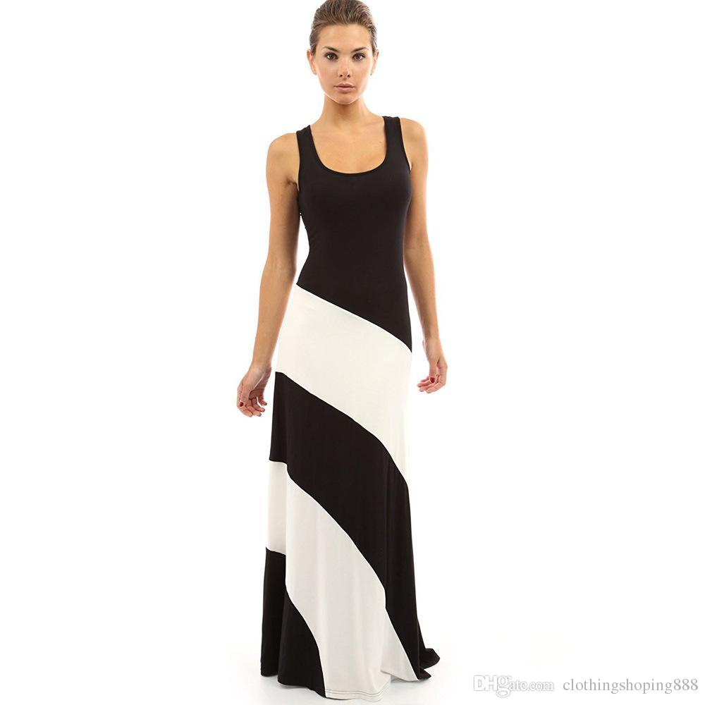 1a998a93fd84 Hot Elegant Striped Dress Black White Splice Sexy Party Dresses Round Neck  Sleeveless Summer Maxi Dress Vestido De Festa White Summer Dresses For  Juniors ...