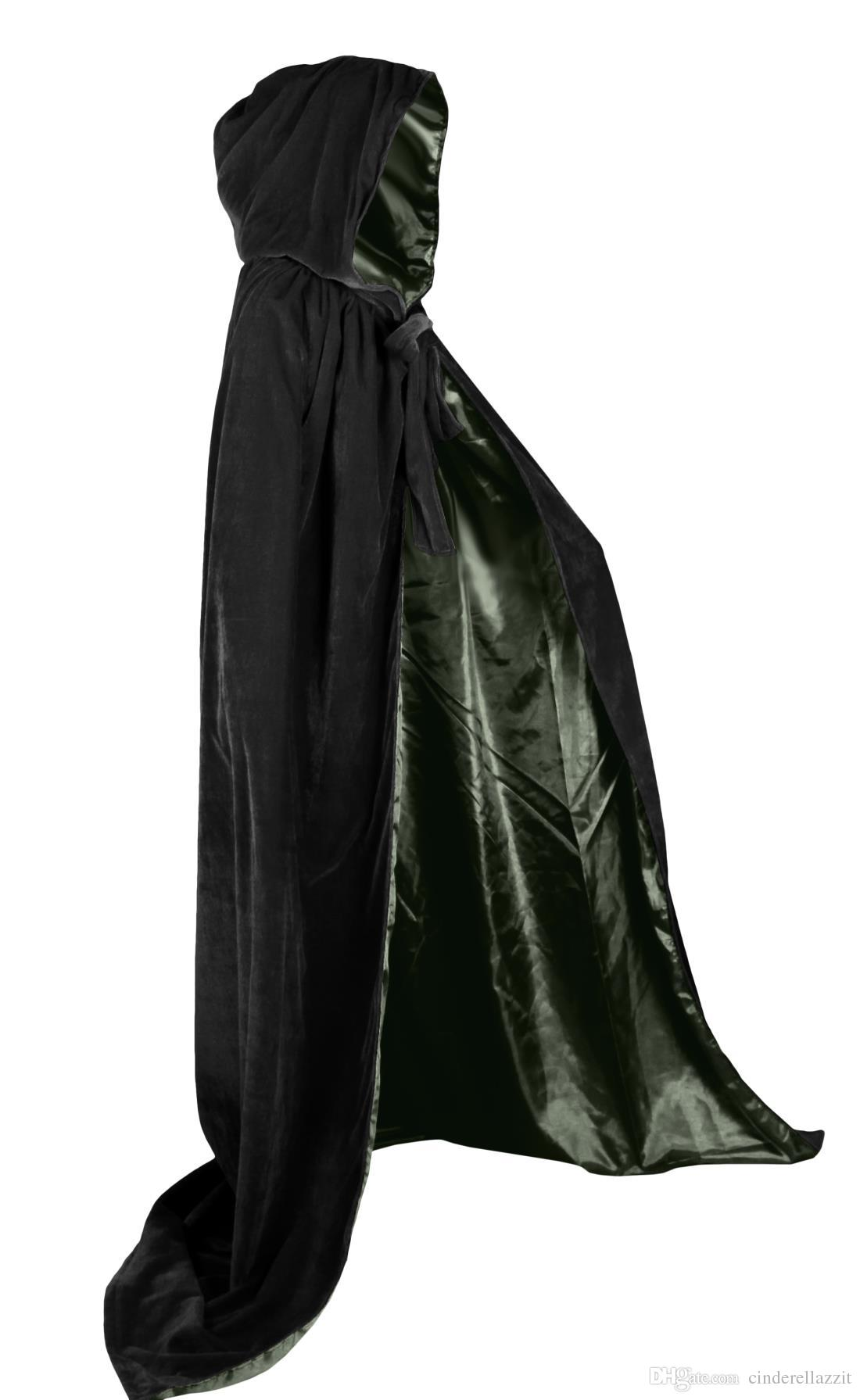 312bb84fe9 2019 Cheap Black And 10 Colour Lining Hooded Velvet Cloak Gothic Wicca Robe  Medieval Witchcraft Larp Cape Hooded Vampire Halloween Party Cloak %1 From  ...