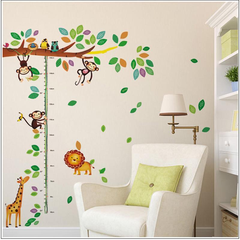 Acheter Dessin Animé Girafe Singe Arbres Hauteur Autocollant Mur Chambre  Bébé Enfants Chambre Stickers Muraux Décor À La Maison Sticker Art Mural De  $9.35 ...