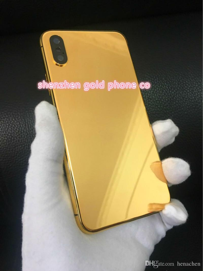 2018 hot ! newest luxury phone ! 24ct 24k gold real gold Full Housing Battery Door for iPhone X style Housing Battery Back Cover Replac