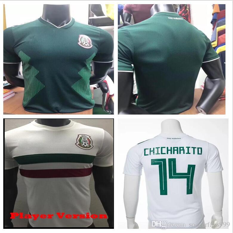 299ca1b39 2019 Player Version 2018 World Cup Mexico Away White Soccer Jersey Mexico  Away Soccer Shirt Player Version 2018 World Cup Football Uniform Sales From  ...