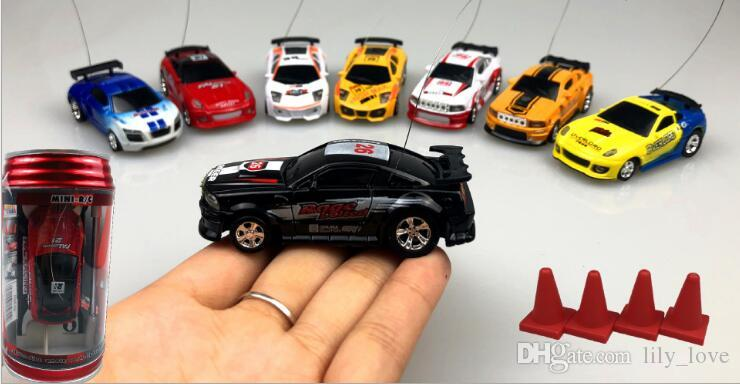 Epacket Mini-Racer Remote Control Car Coke Can Mini RC Radio Remote Control Micro Racing 1:63 Car,Coke tank remote car speed racing