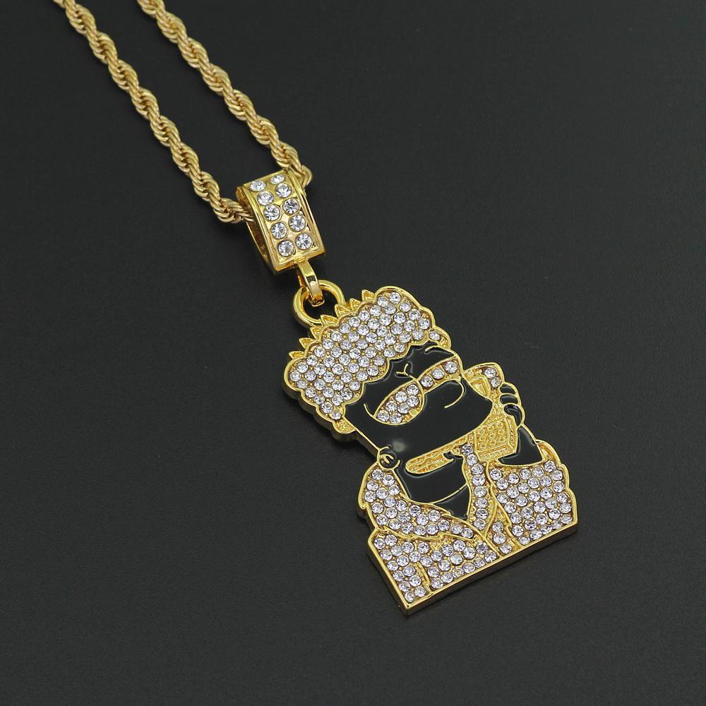 Yeni Hip Hop Erkekler Kadınlar Karikatür Kolye Kolye Takı 24 inç Paslanmaz Çelik Halat zincir N403