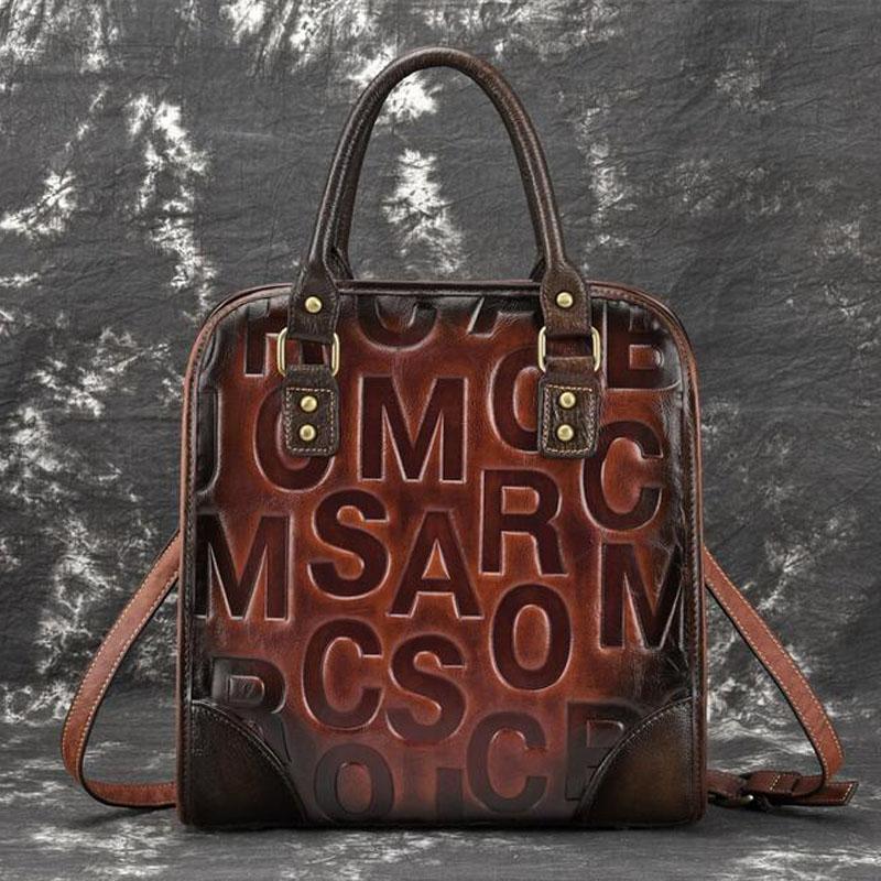 4cbecae754 New Women Handbag Embossed Genuine Leather For Female Top Handle Shoulder Bags  Handmade Messenger Bag English Letter Cute Purses Rosetti Handbags From ...
