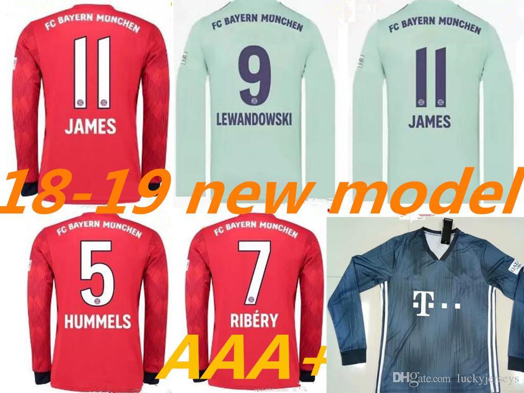 size 40 50e98 7a47f Bayern Long sleeve home away Soccer jersey JAMES RODRIGUEZ 2018 LEWANDOWSKI  MULLER KIMMICH jersey 18 19 HUMMELS Football shirt