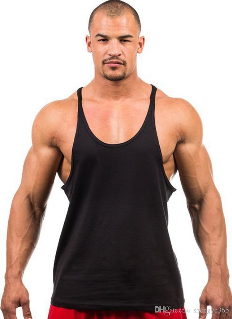 2018 Printemps Été Fitness Hommes Blank Stringer Coton Débardeur Singlet Culturisme Sport Maillot de Bain Vêtements Gym Gilet Muscle Singlet