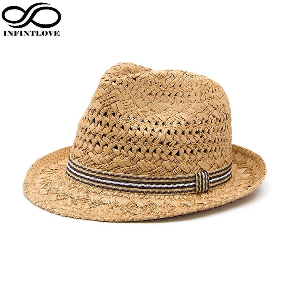 LUCKYLIANJI Summer Fashion Handmade Women S Beach Boho Fedora Straw Hat Sun  Hat Sunhat Men Jazz Hat Gangster Cap One Size 58cm Straw Cowboy Hats Sun  Hats ... a6e6315506a