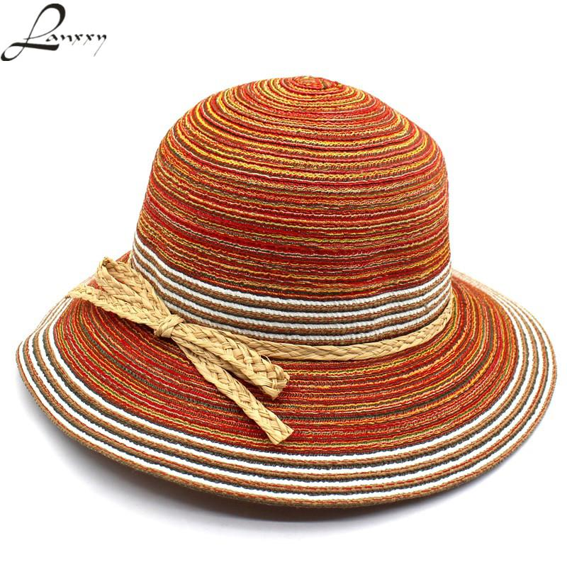 Lanxxy 2018 New Vintage Straw Sun Hats For Women Summer Outdoor Leisure  Headwear Colorful Floppy Beach Hat Chapeau Female Panama Cowboy Hats Pork  Pie Hat ... ad8c539d605