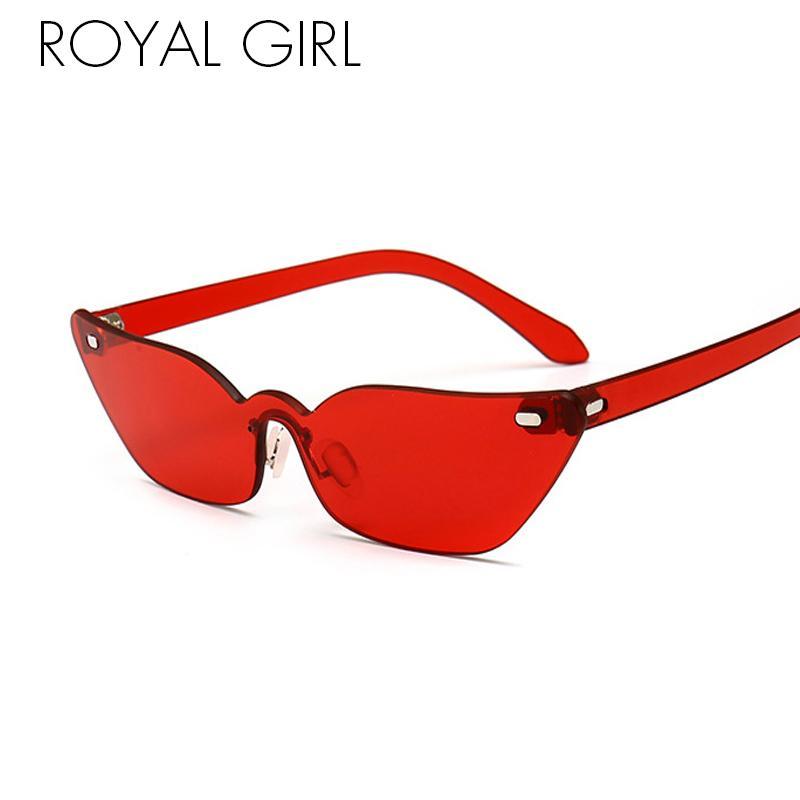 79d646bf13408 ROYAL GIRL Rimless Cat Eye Sunglasses Women 2018 New Small Narrow Frame  Eyeglass Female Brand Red