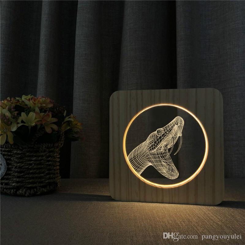 Maison Snake Lumière Chambre En Carving Pattern VeilleuseTable Power Cartoon Bureau Led Animalwood Bois Lampe Usb 3d Décoration Onk80PwX