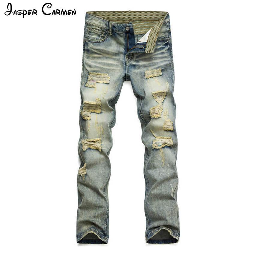 d069ad6945 Compre 2017 Hombres Jeans Ocasionales Delgados De Verano Straight Slim Fit  Agujeros Jeans Stretch Pantalones De Mezclilla Pantalones Vaqueros Clásicos  ...