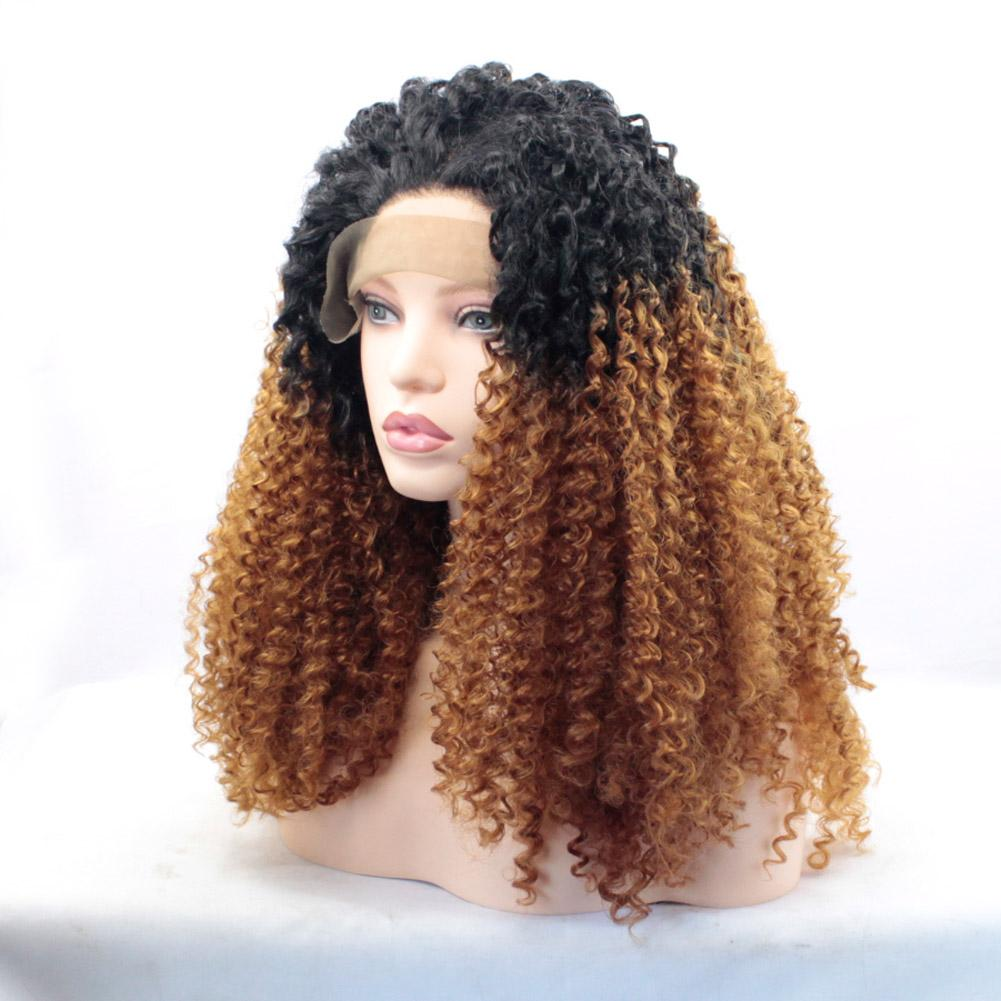 Long Afro Kinky Curly Blonde Brown Ombre Glueless Lace Front Wigs 2 Tone  Color Black Roots Synthetic Hair Wigs For Black Women 1BT30  Wig Tape Wigs  For ... 5feca7f51255
